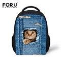 Cute Cat Dog Children Backpacks Vintage Denim Blue Kid Backpack American Apparel 3D Zoo Animal Printing Backpack Monchila Infant