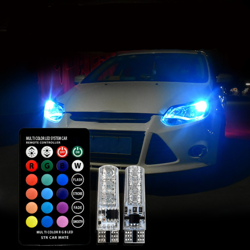 T10 RGB <font><b>LED</b></font> Bulbs Remote Controller Car Wedge Side Light For <font><b>Mazda</b></font> 323 626 cx-5 3 6 8 Atenza <font><b>cx7</b></font> cx-7 mx5 cx3 rx8 cx5 image