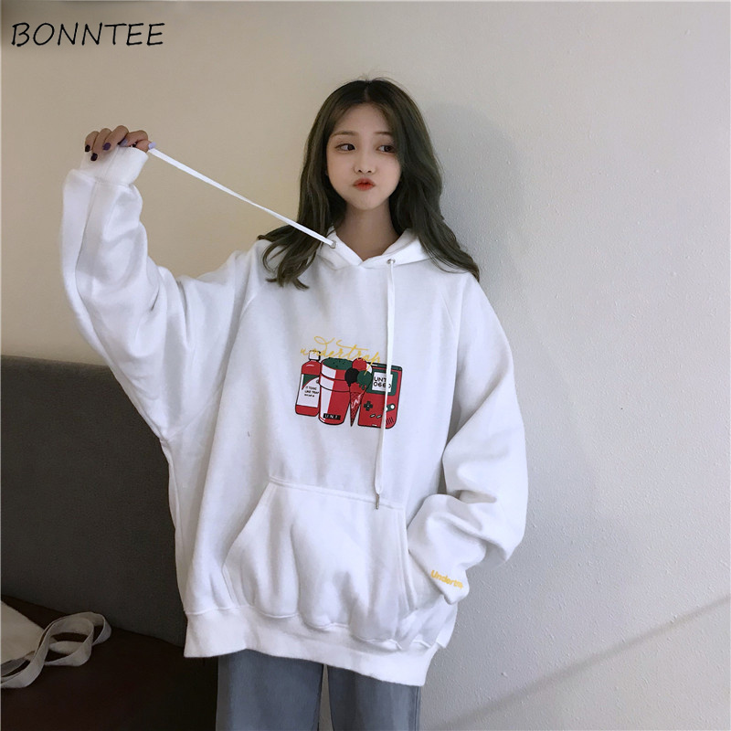 Hoodies Women Hooded New Plus Velvet Warm Cartoon Printed Pocket Womens Hoodie Leisure Simple All-match Korean Style Trendy Chic