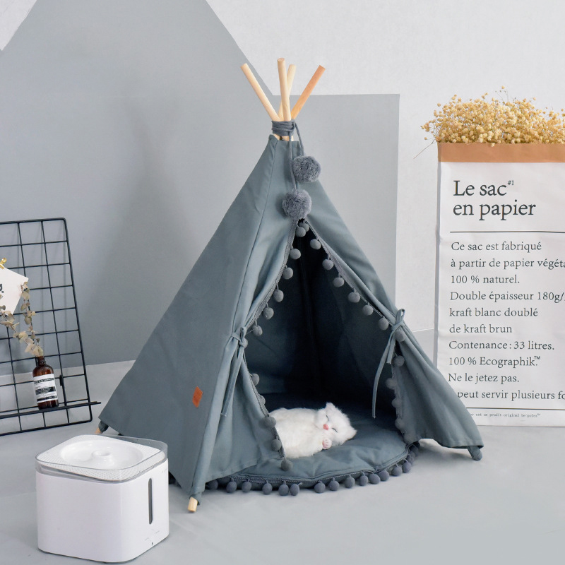 Teepee Tent Dog Teepee Four Seasons Pet Tent House Removable Washable Teepee Set For Small And Medium Dogs