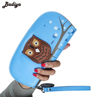 New Arrival Cute Owl Hollow Three Dimensional Printing Rounded Zipper Long Women Wallet Ladies Clutch Change