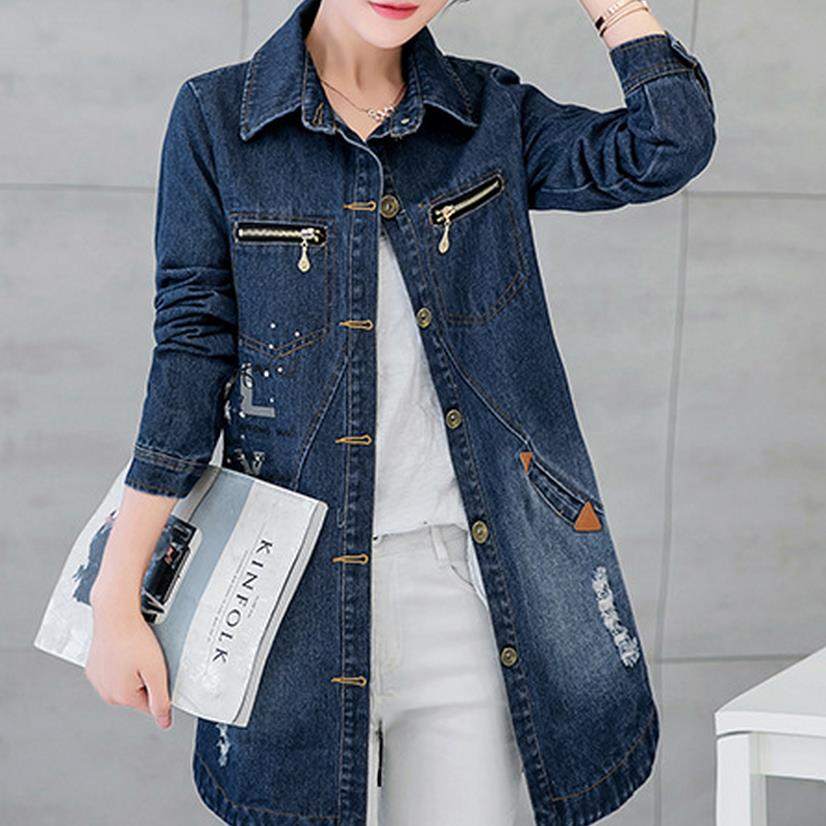 new long Women jacket Coat Denim Woman Denim Coat Slim Overcoat plus size 3xl