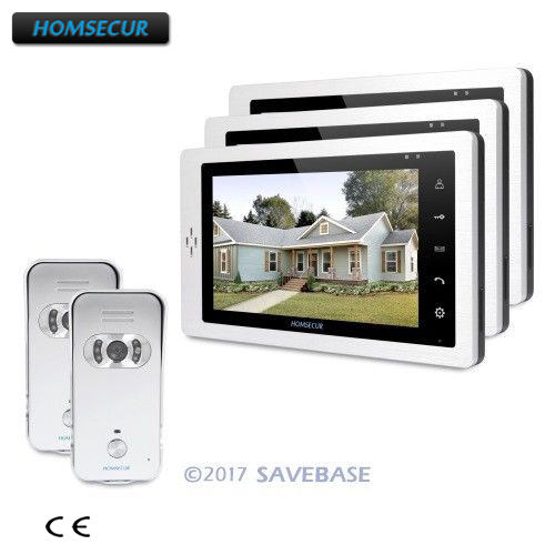 HOMSECUR 7 Video Door Entry Phone Call System 2V3+Silver Camera for Home Security
