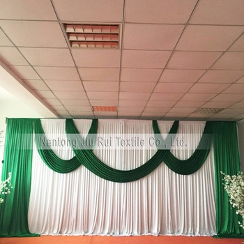 Very Popular Green Swag and Drape Only Wedding Backdrop Ice Silk Party Curtain Wedding Drape Stage Backdrop фото