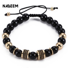 Fashion Black String Rope Tube Charm Adjustable Yoga Bracelet Men Womens Onyx Stone Bead Braiding Macrame Jewelry