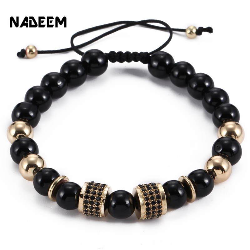 Fashion Black String Rope Tube Charm Adjustable Yoga Bracelet Men Womens Black Onyx Stone Bead Braiding Macrame Bracelet Jewelry
