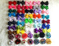 50pcs/lot shabby flower cilps&Grosgrain Ribbon Hair Bows with Clips,Baby Boutique HairBows Hairclips DIY Girls' Hair Accessories