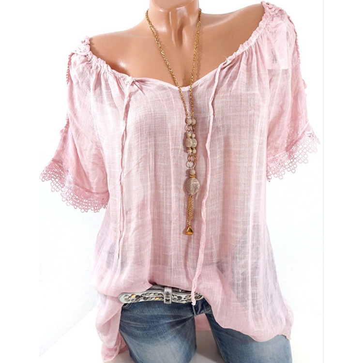 Summer Women Blouse Lace Up Shirt Short Sleeve Off Shoulder Tops Slash Neck Loose Casual Basic Plus size 5xl Blouses Shirts 2018 1