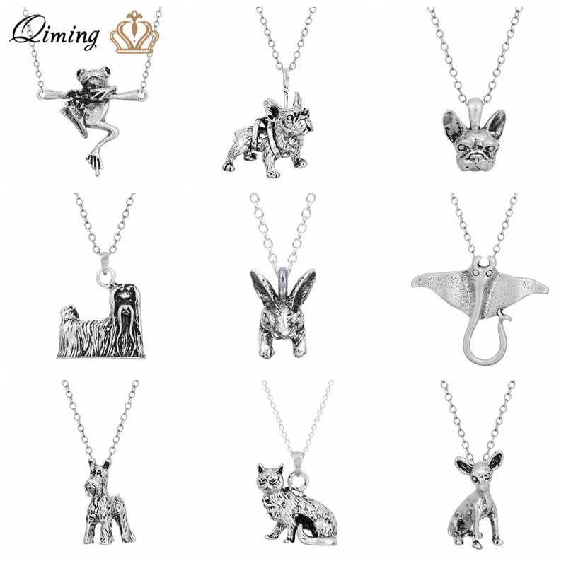 BLACK SP Cat Paw Fish Bone Personalized Custom Adjustable Chain Necklace with Silver Pendant for Family