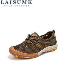 LAISUMK Summer Breathable Mesh Shoes Mens Casual Brand Fashion Man Soft Comfortable