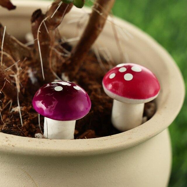 10/20 piezas en miniatura de espuma Artificial en macetas de plantas de decoración de Mini setas DIY artesanía jardín casa resina ornamento artesanía musgo Decoración