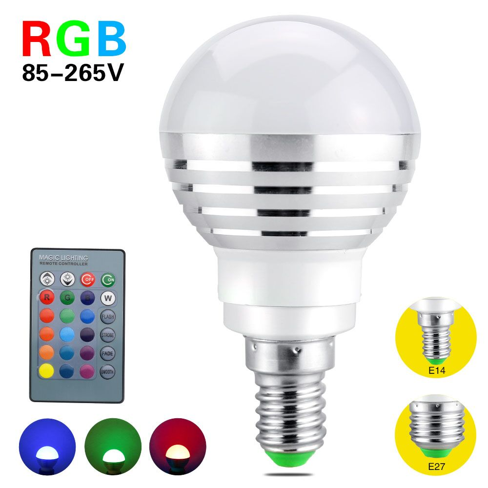 e14 e27 dimmable 16 colors changing 3w 85 265v magic rgb led light rgb bulb with 24key ir remote. Black Bedroom Furniture Sets. Home Design Ideas