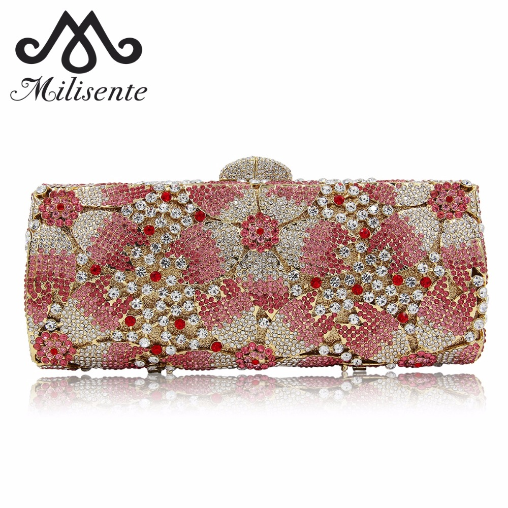 Milisente Top Quality Luxury Crystal Evening Clutch Women Wedding Purses Lady Dinner Party Shoulder Bags Pink milisente women luxury rhinestone clutch evening handbag ladies crystal wedding purses dinner party bag gold