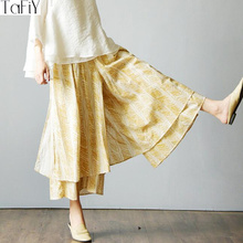 bbceec64900 TaFiY 2017 Summer Trousers for Women Elastic Waist Vintage Print Loose Long  Cotton Wide Leg Pants
