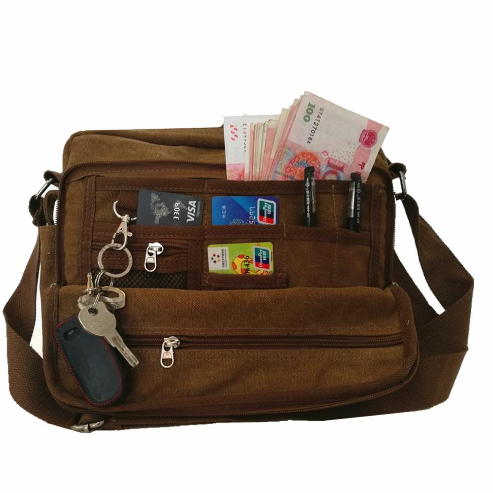 new canvas multi functional bag multi pocket men women handbag large capacity card key money