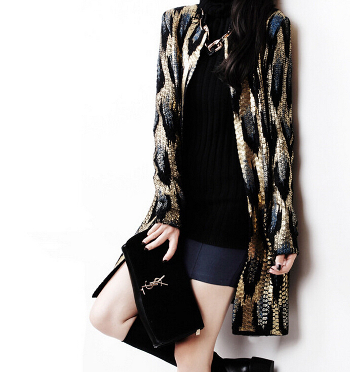 Buy gold sequin cardigan and get free shipping on AliExpress.com