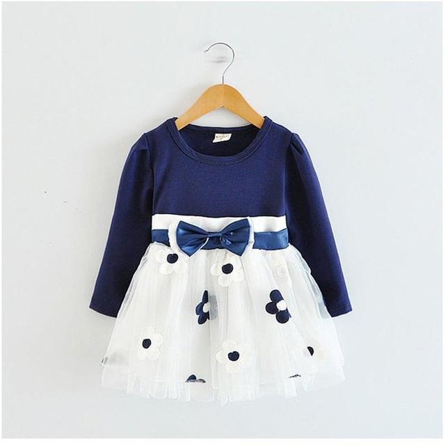 6add83d83 Los niños vestidos de niñas de invierno de 2018 de flor de algodón vestido  de Bebé
