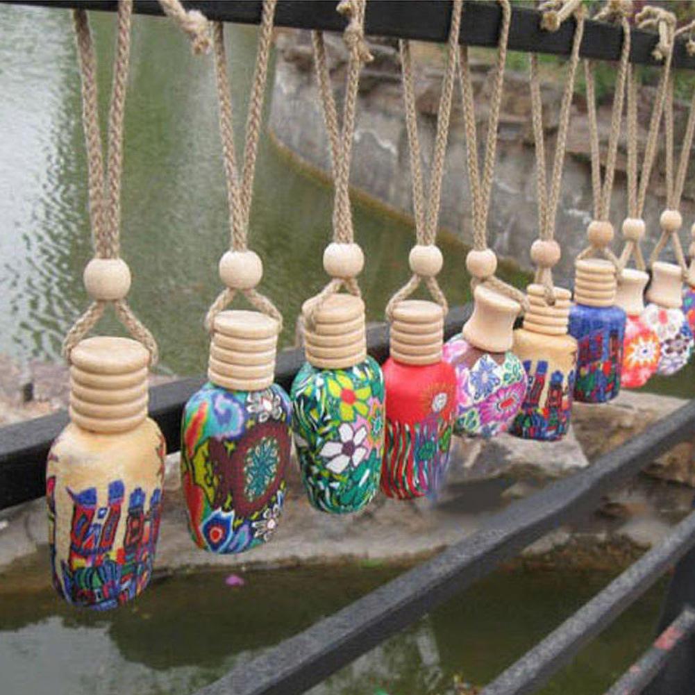 Ornamental bottles - 1pcs Empty Perfume Hanging Bottle Aromatherapy Car Air Freshener Home Decoration Clay Bottle Ornament Art Craft