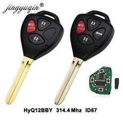Jingyuqin 10 sztuk 3 przycisk zdalny inteligentny klucz kluczyk do samochodu 314.4Mhz dla Toyota 2005-2008 Hilux HYQ12BBY 4D67 układu TOY43 ostrze
