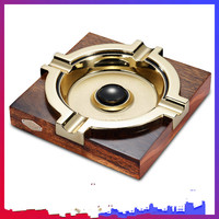 Cigar Ashtray Gold plated Slot Printed Eggplant Solid Wood Stainless Steel Creative Large Ashtray