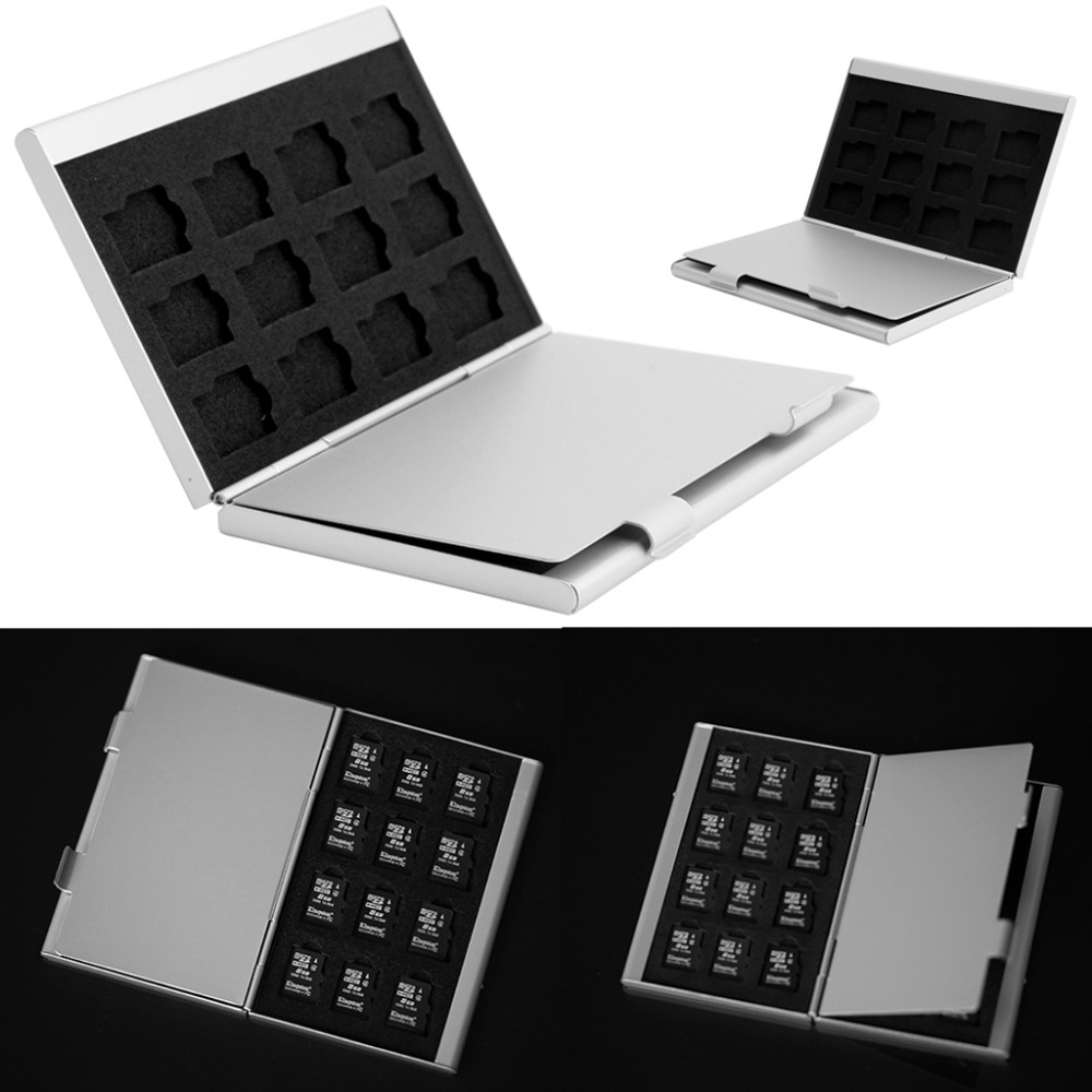 1 Set Silver Aluminum Memory Card Storage Case Box Holder For 24 TF Micro SD Cards New Design