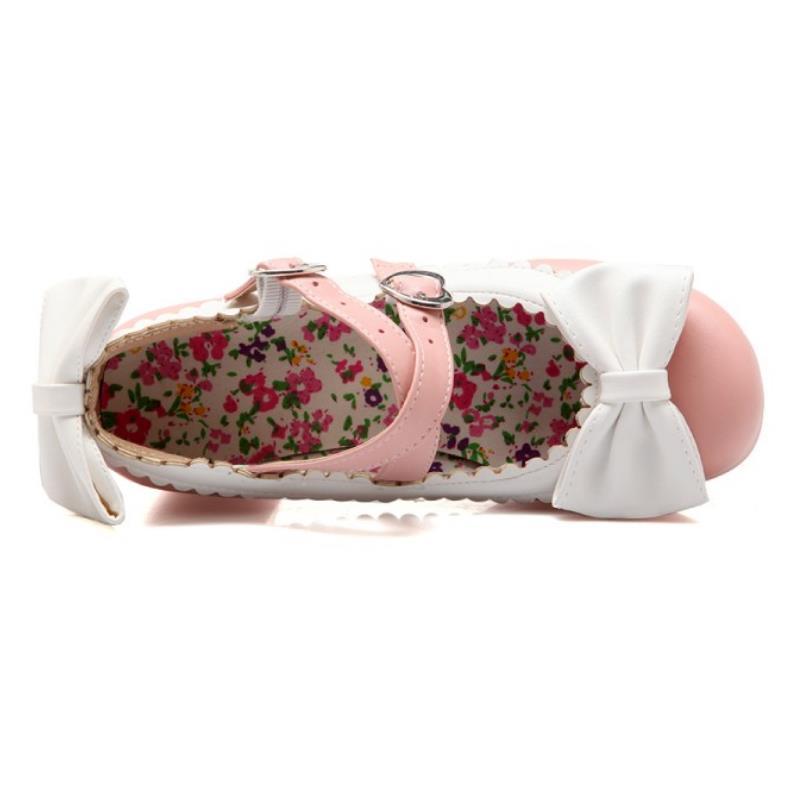 Femmes Plate Souples Doux forme Chaussures Épaisse Partie Sangle Ankel Datant 43 Noir Hauts Taille Dames Talons rose Bowtie ivoire Pompes Taoffen À 33 Dame R8v8wa