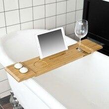 SoBuy FRG104-N, бамбуковые стойки для ванной, Ванна Полка поднос с iPad/мобильный телефон, стекло и подсвечник мебель для ванной комнаты