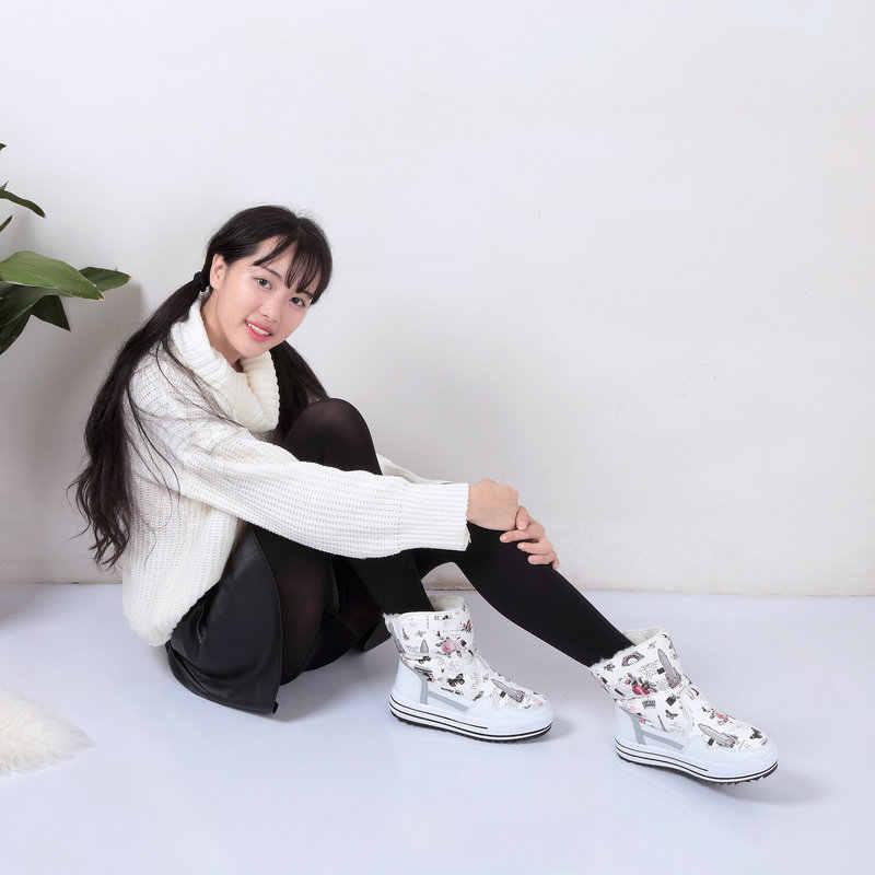 גברת Buffie מותג אופנה נעלי מעורב טבעי צמר חורף נשים מגפי ילדה פרח עמיד למים תרמית שלג מגפי מגפיים צבעוניים