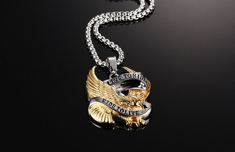 Stainless Steel Eagle Necklace Pendant in Gold And Silver 2