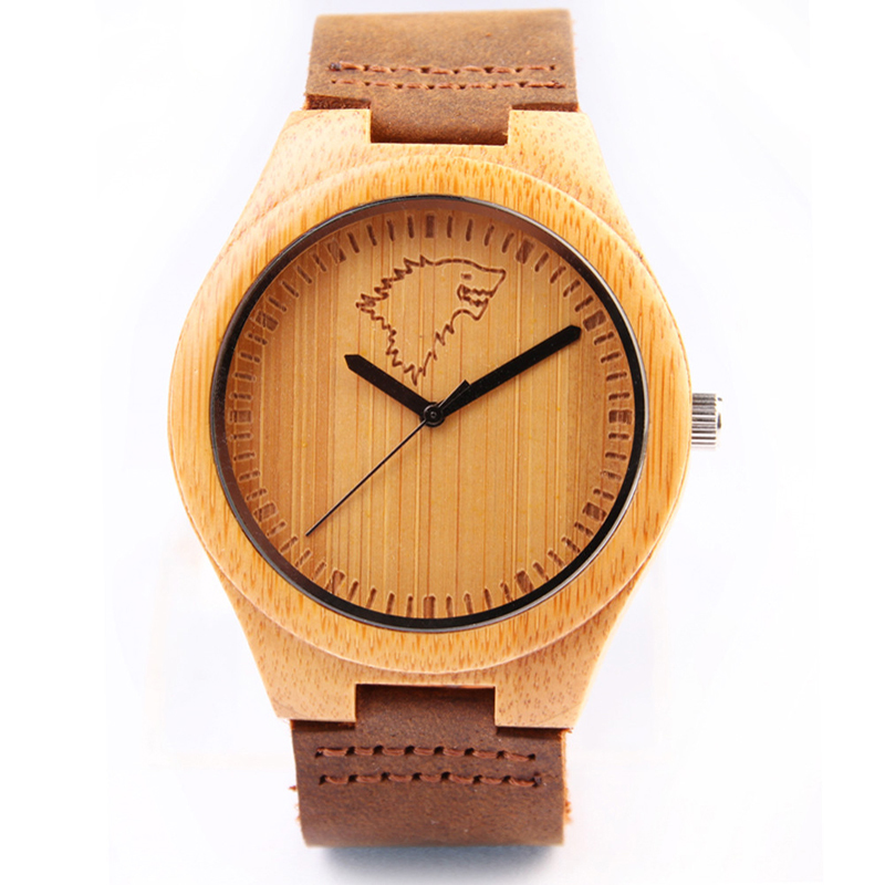 Natural Mens Bamboo Wood Watch With Genuine Cowhide Leather Wood Wolf Watch Luxury Customed Watches For Man Clock hour Gifts