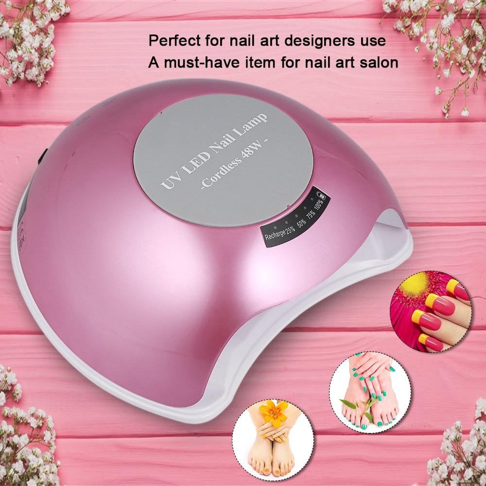 48W Cordless UV LED Nail Lamp Rechargeable Nail Gel Dryer Fingernail Toenail Gel Curing Machine Nail