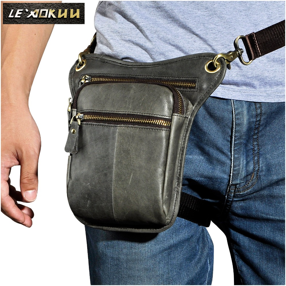 Leather Men Design Casual Coffee Messenger Sling Bag Fashion Multifunction Travel Waist Belt Pack Drop Leg Bag Male 211-2-g