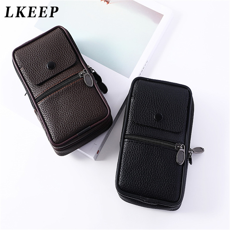 2019 New PU Leather Vintage Waist Packs Men Travel Waist Bag Mobile Phone Pouch Fanny Pack Belt Loops Hip Bum Bag