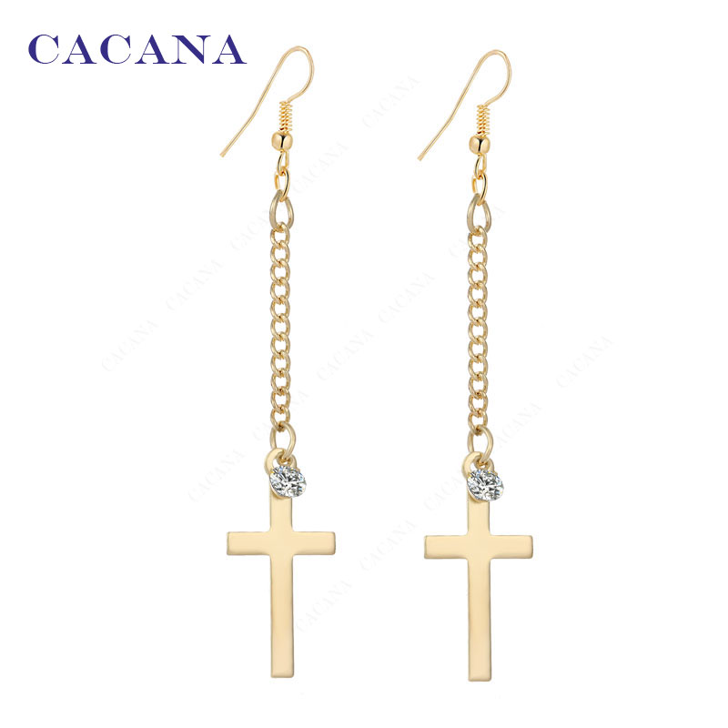 CACANA Long Earrings Cross Dangle Earrings For Women Top Quality With CZ Bijouterie Hot Sale No.A199