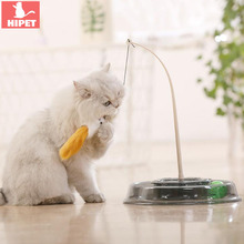 HIPET Funny Pet Cat Toy Interactive Cats Teaser Stick with Little Mouse Balls Plastic Round Turntable Training kitten Toys