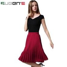 Vintage Falda de Tul Tutu Midi Faldas de Verano Para Mujer 2016 Delgado Elástico de Cintura Alta Falda Jupe Longue Skater Falda Faldas Plisadas
