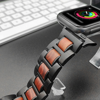 Natural Wood+Metal Steel Watch Strap Band For Apple Watch Series 1 2 3 4 38mm 42mm 40mm 44mm iWatch Watchbands