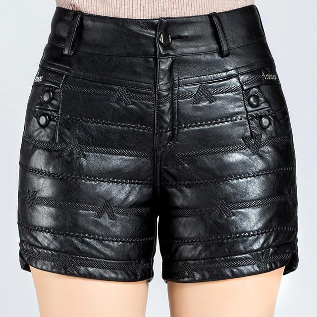 Новое Прибытие 2016 Осень и Зима женская Мода Середины Талии Прямые Черные PU Кожаные Шорты Женщин Случайные Короткие брюки