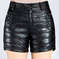 Nova Chegada 2016 Outono e Inverno As Mulheres Moda Mid-Cintura Reta Preto PU Shorts De Couro das Mulheres Ocasional Curto calças