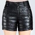 Nueva Llegada 2016 Otoño y El Invierno de Las Mujeres de Moda A Mediados de Cintura Recta Negro Cuero de LA PU Shorts Women Casual Corto pantalones