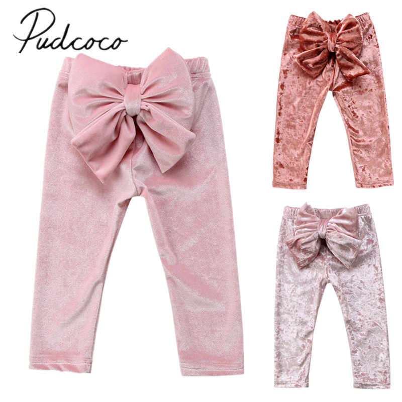 2018 Brand New Toddler Infant Child Kids Baby Girls Princess Bowknot Bottoms Pleuche Pants Leggings Trousers Cute Clothes 6M-5T