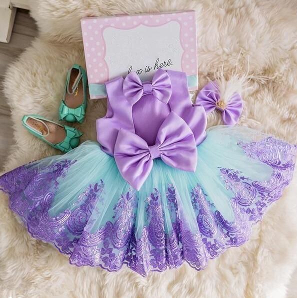 2018 nouveau sarcelle et violet dos nu petite princesse infantile première robe d'anniversaire robe de bal fille enfant thé party robes avec arc