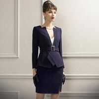 Костюмы с юбкой женские комплекты из двух предметов элегантная Деловая одежда для офисных леди Элегантный Модный дизайнерский Блейзер Мин