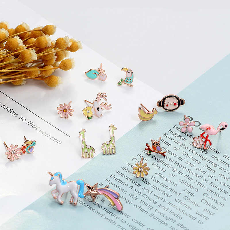 Mingqi Cute Korea Anting Hewan Flamingo Parrot Unicorn Jerapah Monyet Pisang Asimetris Wanita Anting-Anting Fashion Perhiasan Hadiah