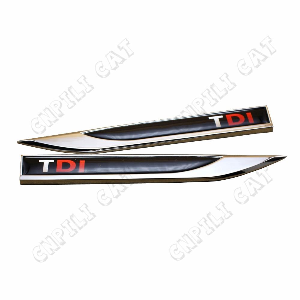 2x TDI Logo Car Alloy Side Fender Knife Emblem Stickers for VW Audi Porsche Land Rover Universal