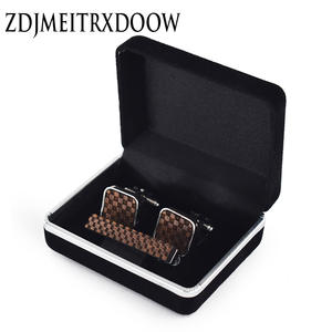 New design Gemelos para hombre camisa Cufflinks for mens jewelry Grid Tie clip Tie bar Set