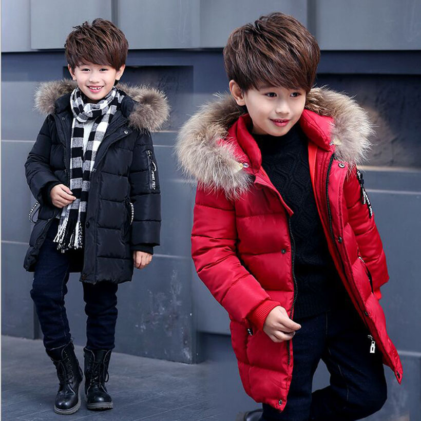 2018 New Winter Children Boys Outerwear & Coats Cotton-padded Fashion Fur Colla Boys Winter Coat Long Thick Warm Fit 4-10T new autumn winter thick fleece hoodies men brand afs jeep thermal warm sweatshirts cotton padded fashion outerwear men