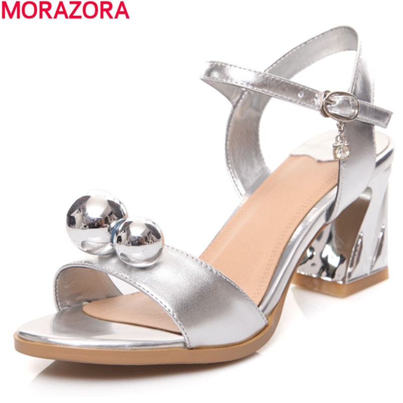 MORAZORA 2017 hot sale summer fashion thick high heels woman shoes genuine leather ankle strap solid white women sandals size 30 43 woman ankle strap high heel sandals new arrival hot sale fashion office summer women casual women shoes p19266
