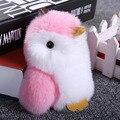 Cute Fluffy Penguin Keychain Rex Rabbit Fur Pompoms Key Chain Fur Pom Pom Keychain Bag Charm Car Pendant Key Ring Holder HX01