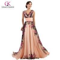Grace Karin Retro Flower Printed Chiffon Long Formal Evening Dress Floor Length Party Dress A Line